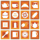 Set of 16 icons. Tea time. In square Royalty Free Stock Images