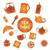 Set of 16 icons. Tea time. In square Stock Photo
