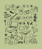 Set icons for teenage boy. Teenagers having fun.  Boy teens life. Doodles elements for design thinking idea backgrounds. Stock Image