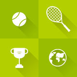 Set of icons for tennis. Flat style. Vector illustration.  Royalty Free Stock Photo