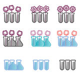 Set of icons test tubes and flowers Stock Photos