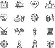 Set of icons for 4th of July. Collection of icons related to the 4th of July holiday in the Unites States of America isolated on white background Stock Illustration