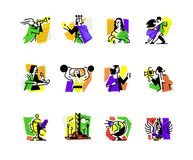 A set of icons on the theme of art forms. Music, choreography, singing, literature, theater, circus. Vector flat illustration. Hobbies of creative people royalty free illustration
