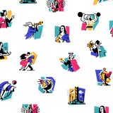 A set of icons on the theme of art forms. Music, choreography, singing, literature, theater, circus. Vector illustration. Hobbies. Of creative people. Icons for vector illustration