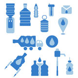 Set of icons for theme bottled water  design. Vector  Stock Photography