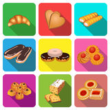 Set of icons on a theme cake baking cookies Royalty Free Stock Image