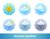 Set of icons on the theme of changing weather conditions. Autumn weather. Vector illustration on white background. Set of icons on the theme of changing weather Royalty Free Stock Photos