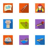 A set of icons on the theme of construction and architects. Builders, architects, and subjects for construction Royalty Free Stock Image