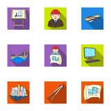 A set of icons on the theme of construction and architects. Builders, architects, and subjects for construction Royalty Free Stock Photography