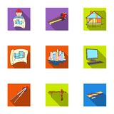 A set of icons on the theme of construction and architects. Builders, architects, and subjects for construction Royalty Free Stock Photo