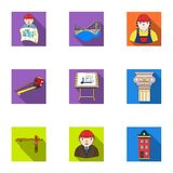 A set of icons on the theme of construction and architects. Builders, architects, and subjects for construction Royalty Free Stock Images