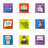 A set of icons on the theme of construction and architects. Builders, architects, and subjects for construction vector illustration