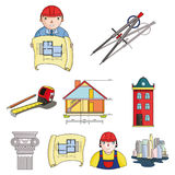 A set of icons on the theme of construction and architects. Builders, architects, and subjects for construction Stock Photo