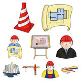 A set of icons on the theme of construction and architects. Builders, architects, and subjects for construction Stock Photos