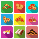 Set of icons on a theme cookie cake Stock Photos