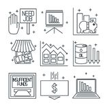 Set icons on a theme of economic crisis Stock Images