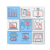 Set icons on a theme of economic crisis Stock Photo