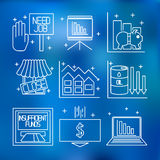 Set icons on a theme of economic crisis Stock Image