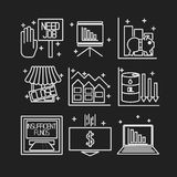 Set icons on a theme of economic crisis Stock Photos