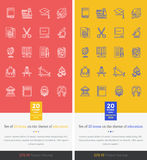 Set Icons Theme of Education and Learning Stock Photography