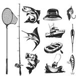 Set icons on the theme of fishing. Set of icons on the theme of fishing - marlin and trout in various poses, fishing rod, fishing hooks, float, baubles, hat Royalty Free Stock Photos