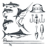 Set icons on the theme of fishing. Set of icons on the theme of fishing - marlin and trout in various poses, fishing rod, fishing hooks, float and baubles, hat Stock Photo