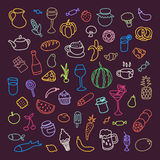 Set of 55 icons on the theme of food, different dishes and cuisines Stock Photography