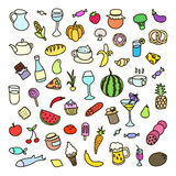 Set of 55 icons on the theme of food, different dishes and cuisines Royalty Free Stock Photography
