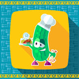 Set of icons on a theme kitchen. Funny cooks - Cucumber in style Stock Image