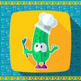 Set of icons on a theme kitchen. Funny cooks - Cucumber in style Royalty Free Stock Photo
