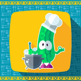 Set of icons on a theme kitchen. Funny cooks - Cucumber in style Royalty Free Stock Photos