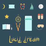 Set of icons on a theme of lucid dream Royalty Free Stock Photo