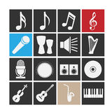 Music icons. Set of icons on a theme music Royalty Free Stock Photos