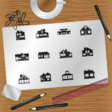 Set of  icons on the theme of private homes. Royalty Free Stock Photography