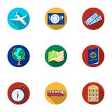 Set of icons on the theme of rest. Travel abroad. Rest ang travel icon in set collection on flat style vector symbol Royalty Free Stock Photography