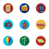 Set of icons on the theme of rest. Travel abroad. Rest ang travel icon in set collection on flat style vector symbol Royalty Free Stock Photo