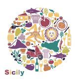 Set of icons on a theme of Sicily in the form of a circle Stock Photography