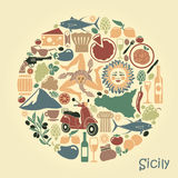 Set of icons on a theme of Sicily in the form of a circle Royalty Free Stock Photography