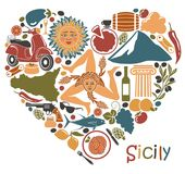 Set of icons on a theme of Sicily in the form of a heart Royalty Free Stock Photography