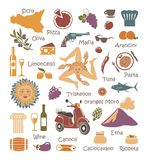 Set of icons on a theme of Sicily Stock Photography