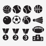 Set of icons for the theme sport, ball, medal, competition Royalty Free Stock Image