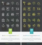 Set Icons on the Theme of Travel and Vacation. Set icons on theme of travel and vacation. Tourism and holiday, recreation and leisure, journey relaxation Stock Images