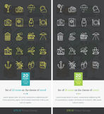 Set Icons on the Theme of Travel and Vacation. Set icons on theme of travel and vacation. Tourism and holiday, recreation and leisure, journey relaxation Royalty Free Stock Image