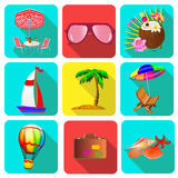 Set of icons on a theme vacation with sunglasses, a suitcase an Royalty Free Stock Image