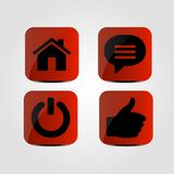 Set of icons - Thumb up, Power, Message and Home icons. Vector Royalty Free Stock Photo