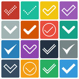 Set of icons, ticks, check marks Stock Images