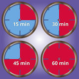 Set of 4 icons timer. 4 sections with minutes Royalty Free Stock Image