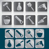Set of icons of tools for house construction or repair.  Stock Illustration