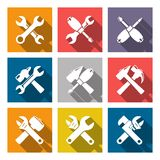 Set icons of tools Stock Photo