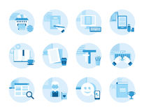 Set of icons on the topic  writing, text editing, printing. Royalty Free Stock Photography